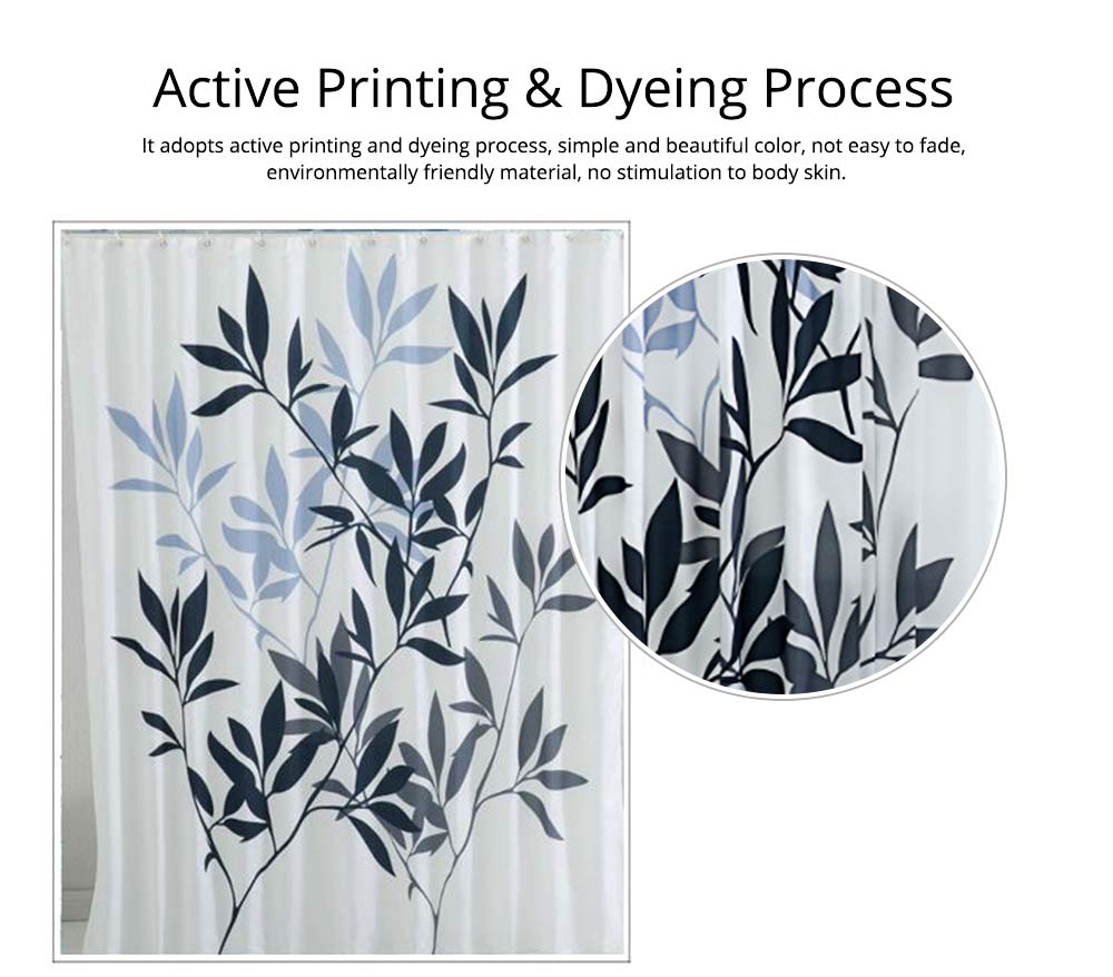 Leaf Print Shower Curtain Polyester Mildew-Proof  Shower Curtain 3