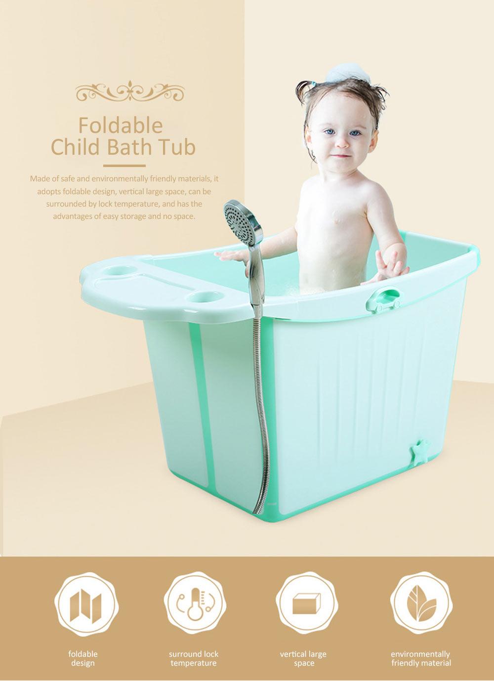 Foldable Child Bath Tub Plus Size Baby Bath Tub with Shelf 0