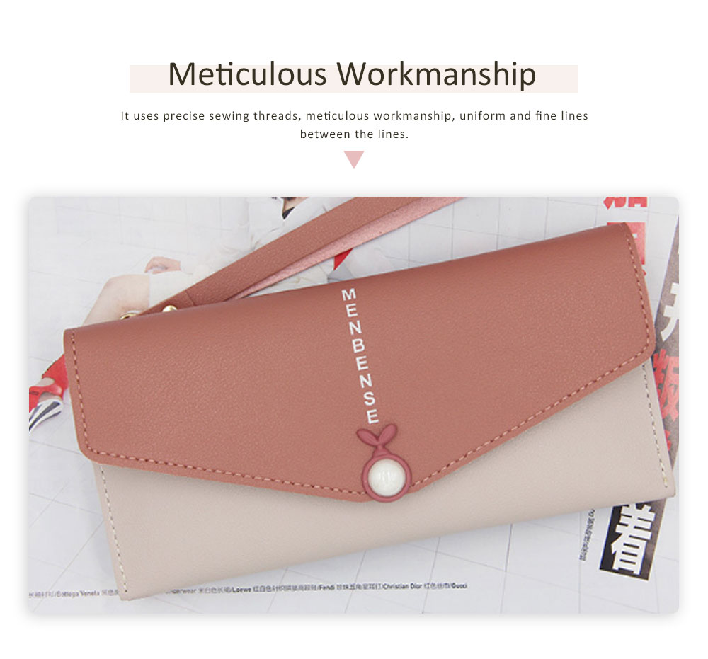 Mid Length Wallet, Stylish Pearl Shape Snap Leather Purse 2
