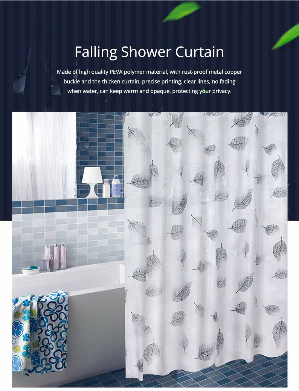 Falling Shower Curtain Mildew and Waterproof PEVA Shower Curtain for Household 0