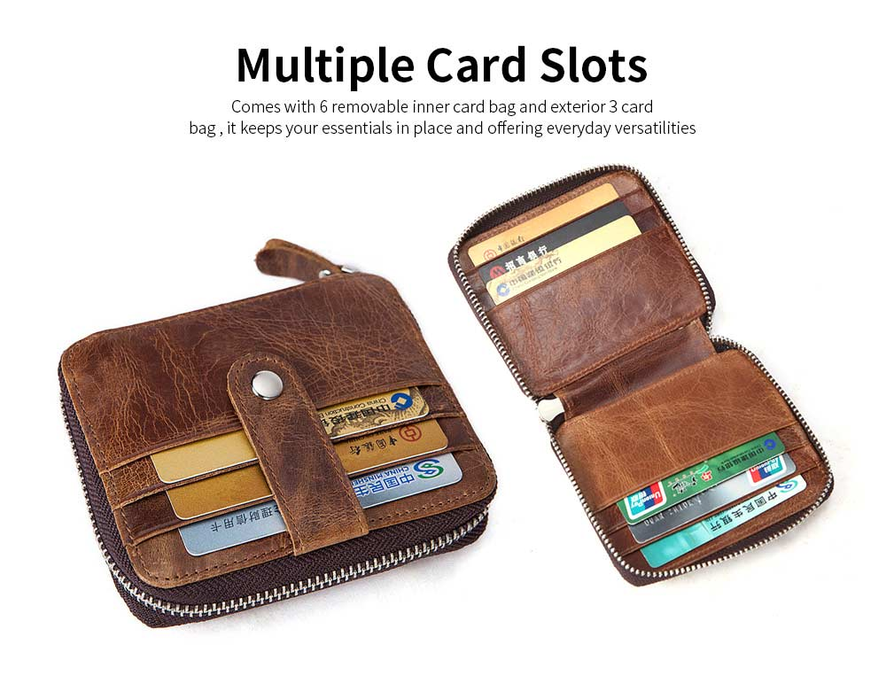 Zipper Leather Wallet with Metal Buckle and Multi-card, Retro Money and Card Holder Purse for Men 10
