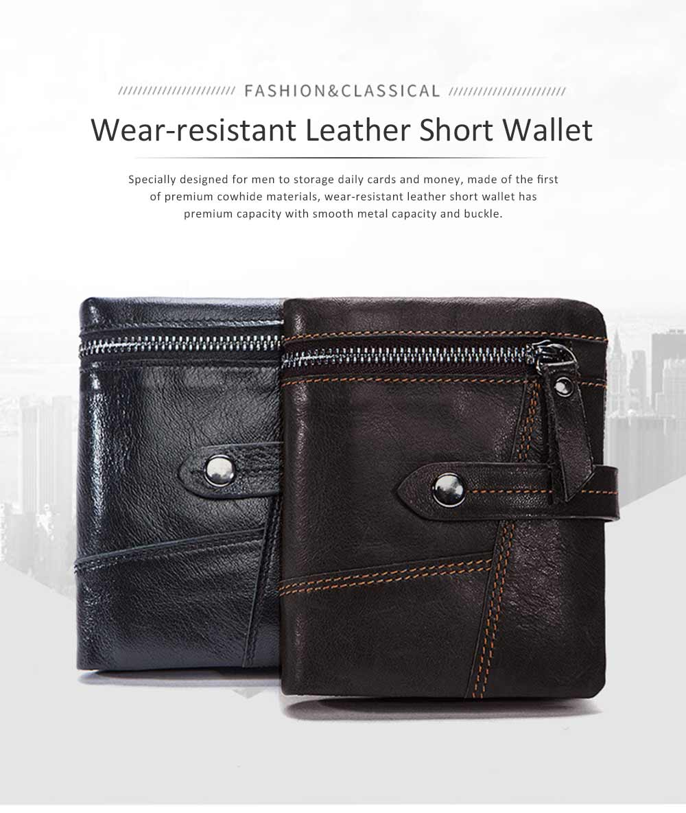 Retro Motorcycle Leather Zipper Purse, Men's Wear-resistant Leather Short Wallet with Stitching and Tri-fold Design 0