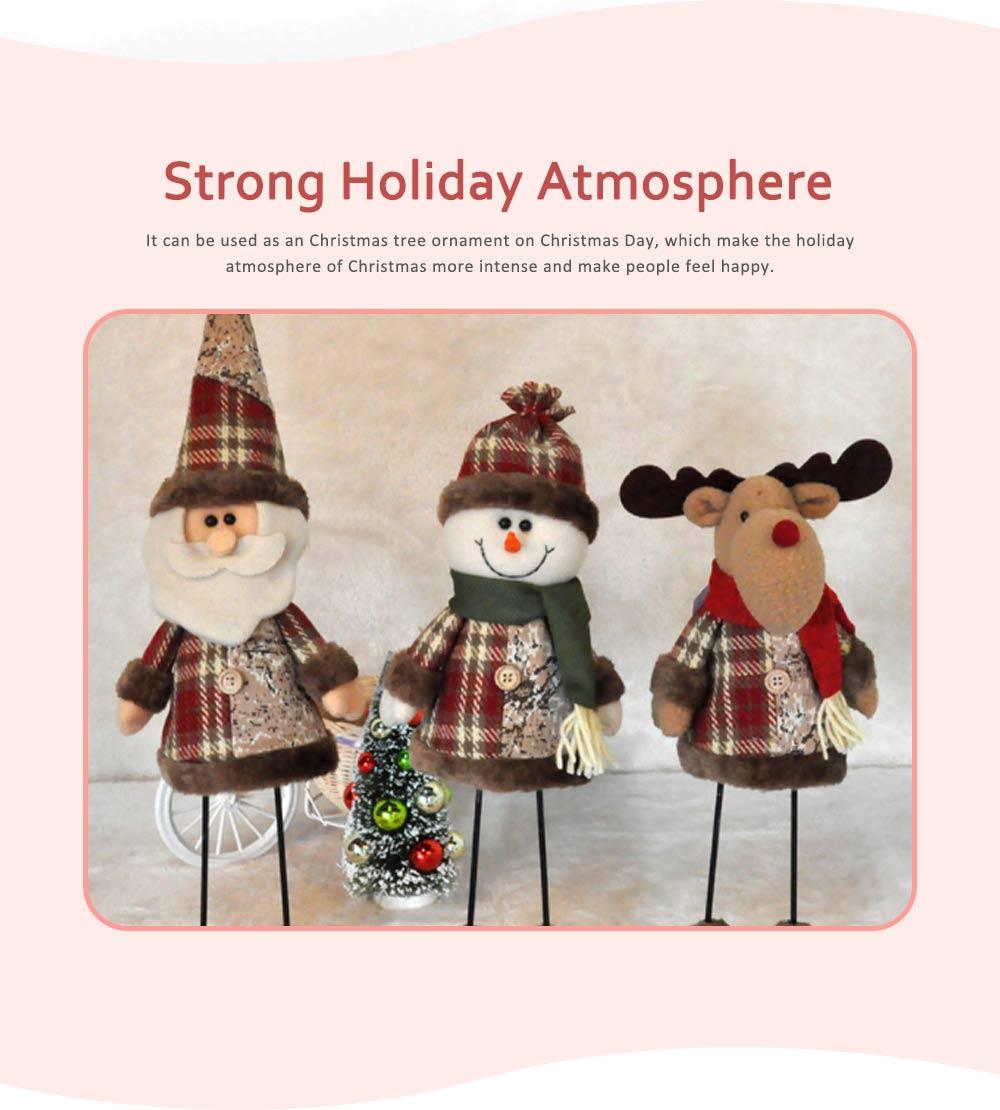 Fabric Santa Claus Figurine, Iron Feet Standing Santa Claus Ornaments 4
