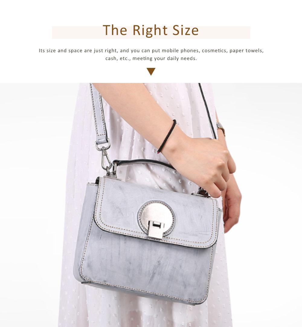 Slim Square Handbag, Retro Fog Wax Leather Handbag 1