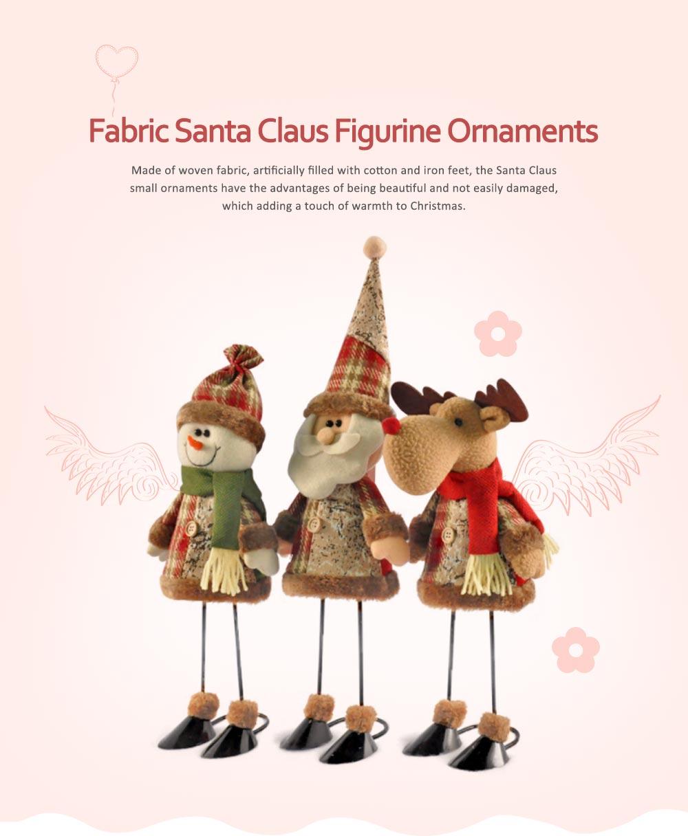 Fabric Santa Claus Figurine, Iron Feet Standing Santa Claus Ornaments 0