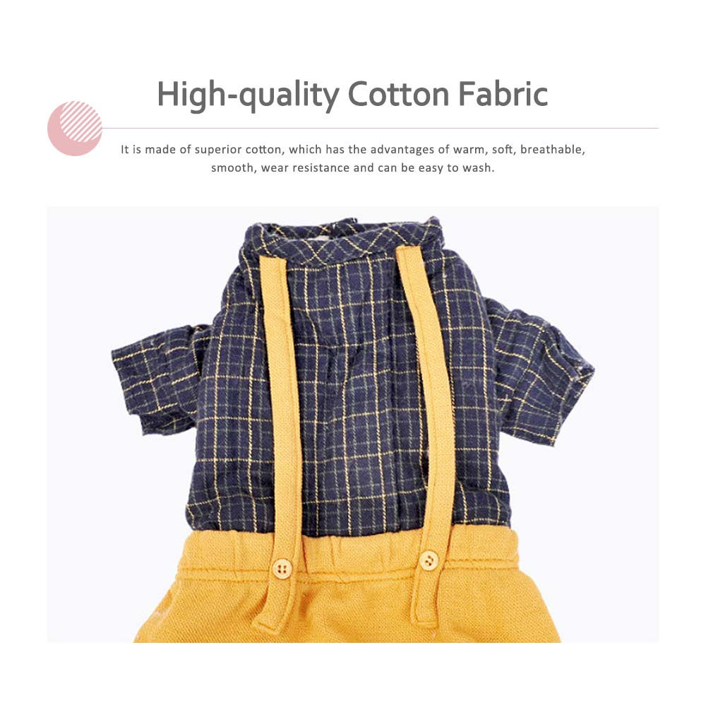 Plaid Overalls Four-leg Pet Clothes, Warm Soft Cotton Puppy Pet Coat Apparel for All Breeds 1