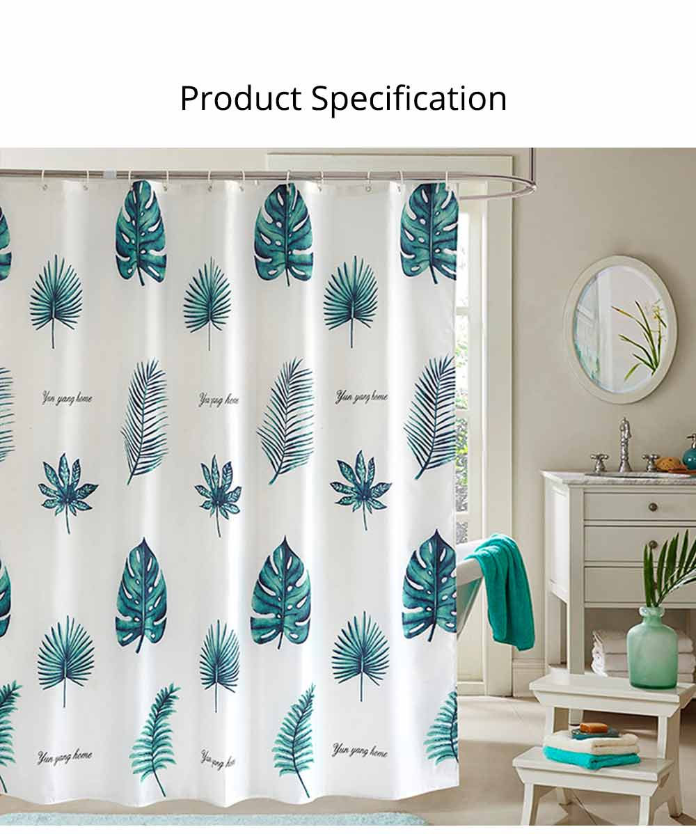 Green Leaf Shower Curtain Bathroom Shower Curtain with Sending Hooks and Increasing Plumb Bobs 6