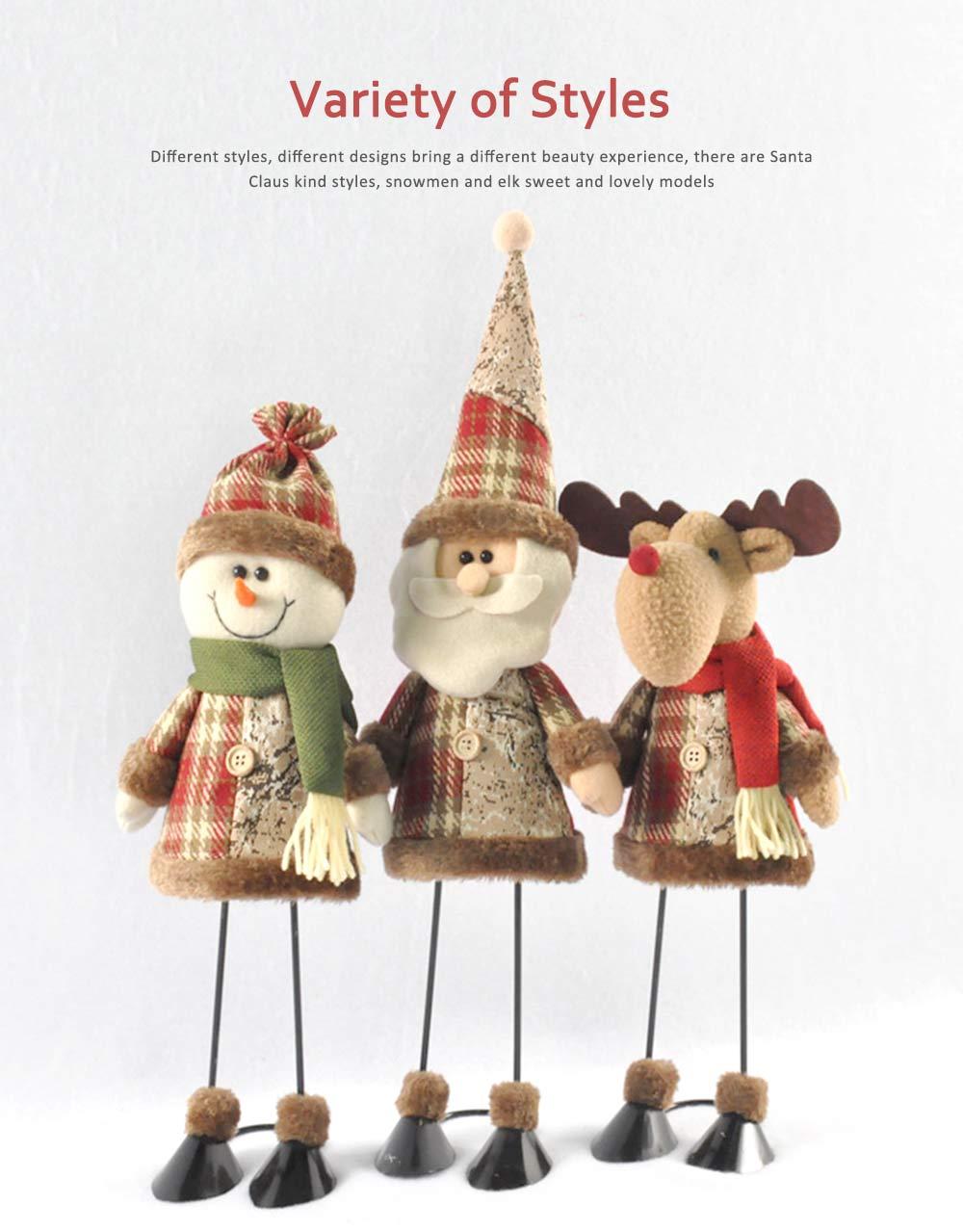 Fabric Santa Claus Figurine, Iron Feet Standing Santa Claus Ornaments 3