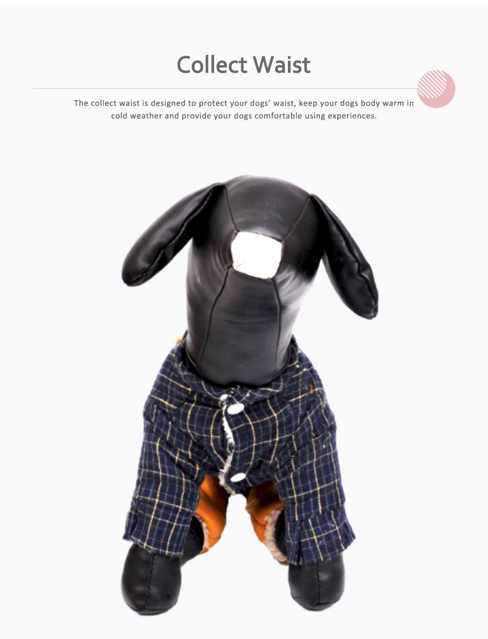 Plaid Overalls Four-leg Pet Clothes, Warm Soft Cotton Puppy Pet Coat Apparel for All Breeds 4