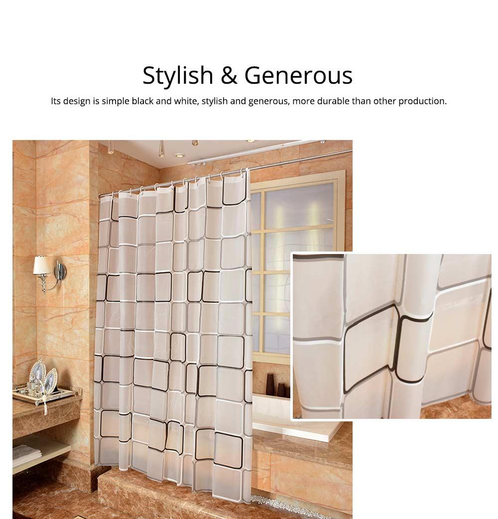 Checkered Bathroom Shower Curtain PEVA Environmental Protection Bathroom Curtain 2
