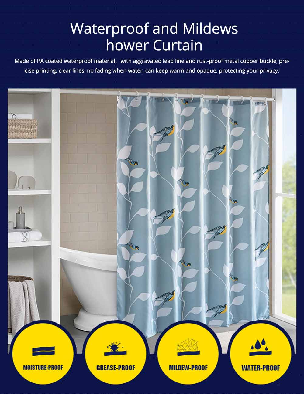 Bird Print Shower Curtain Waterproof And Mildew Shower Curtain For Hotel 0