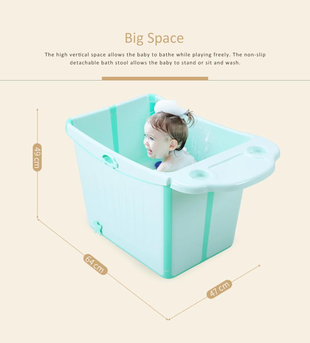 Foldable Child Bath Tub Plus Size Baby Bath Tub with Shelf 4