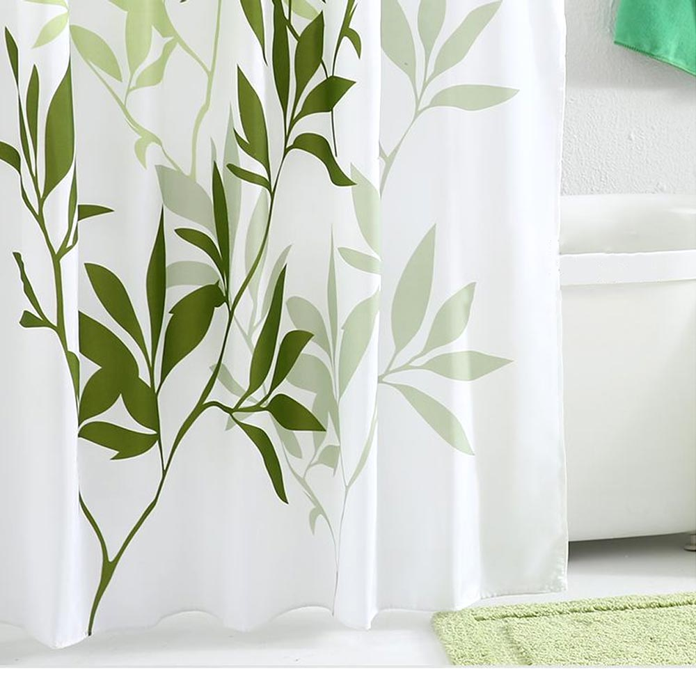 Plant Printing Shower Curtain, Polyester Waterproof and Mildew-proof Shower Curtain 0