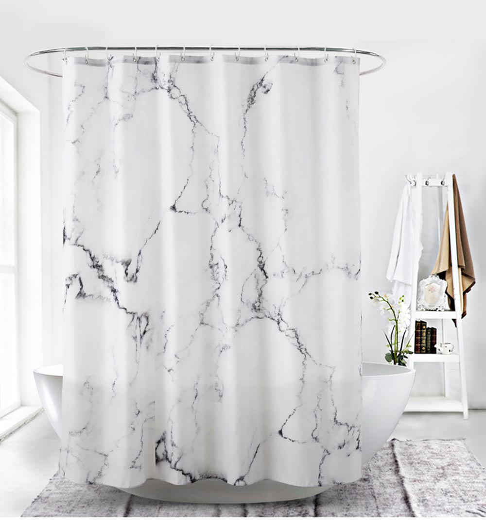 3D Digital Marble Printed Shower Curtain, PA Coated Partition Curtain 0