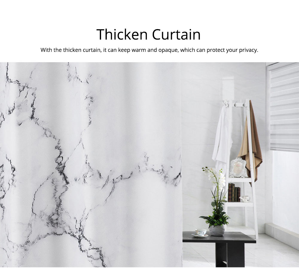 3D Digital Marble Printed Shower Curtain, PA Coated Partition Curtain 3
