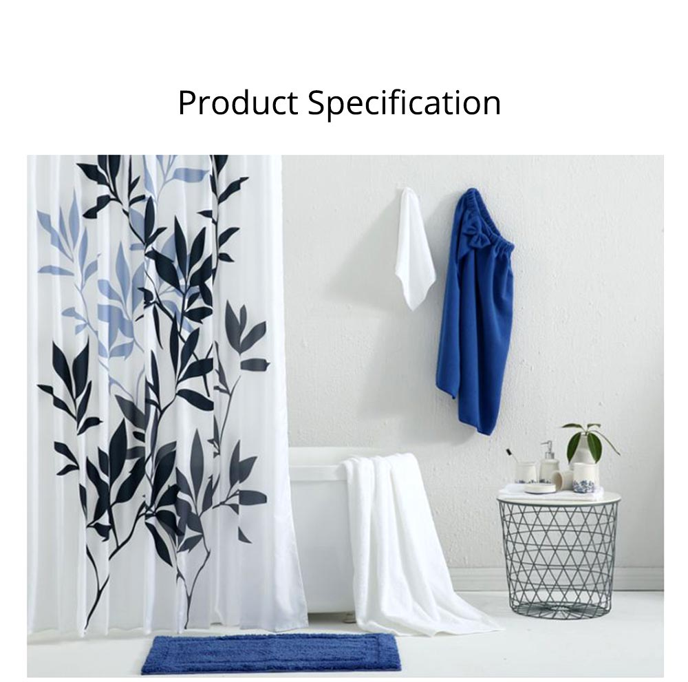 Leaf Print Shower Curtain Polyester Mildew-Proof  Shower Curtain 7