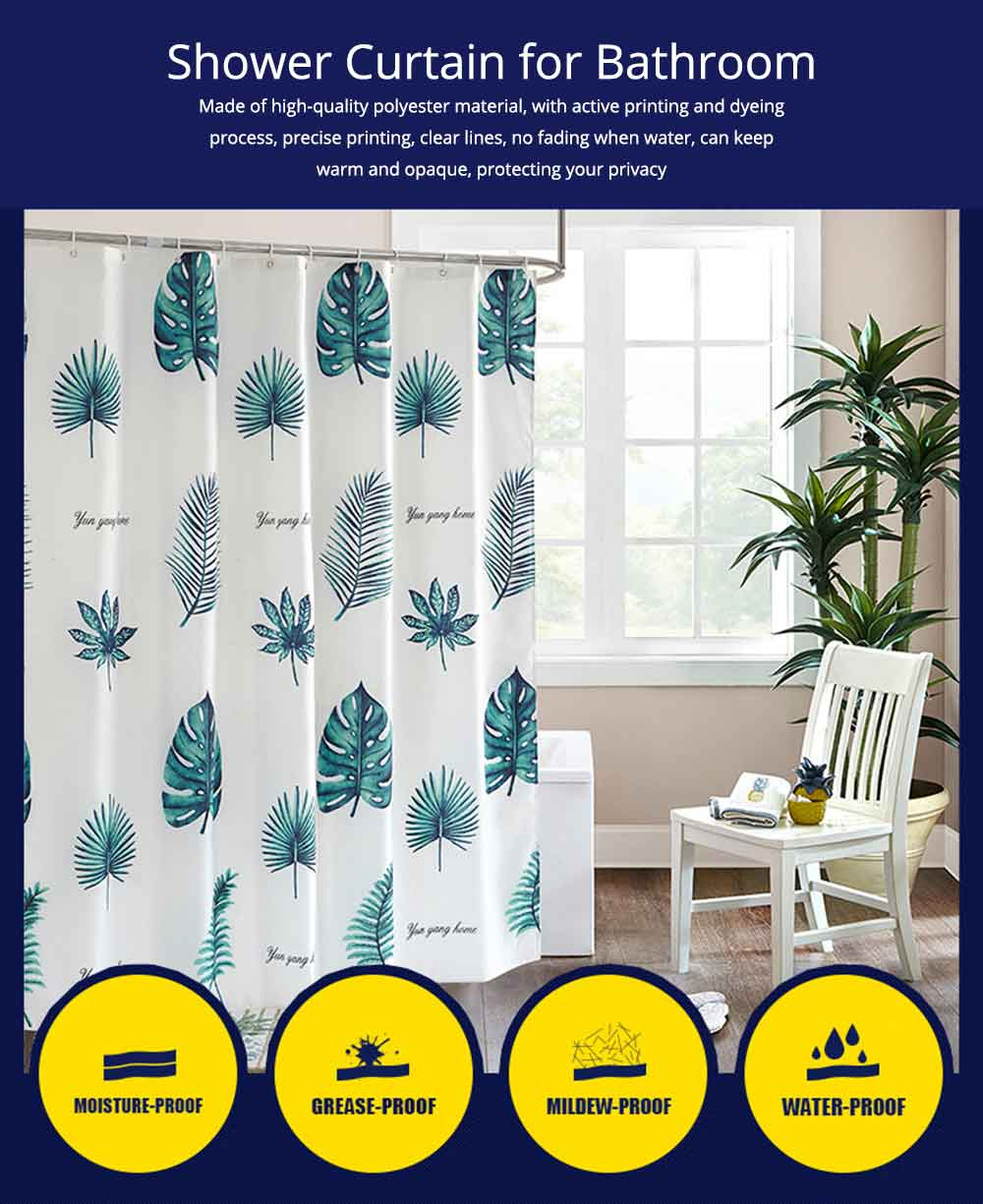 Green Leaf Shower Curtain Bathroom Shower Curtain with Sending Hooks and Increasing Plumb Bobs 0