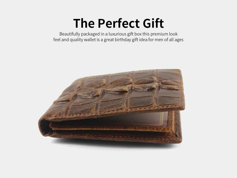 Slim Genuine Leather Mens Wallet - Crocodile Pattern 4