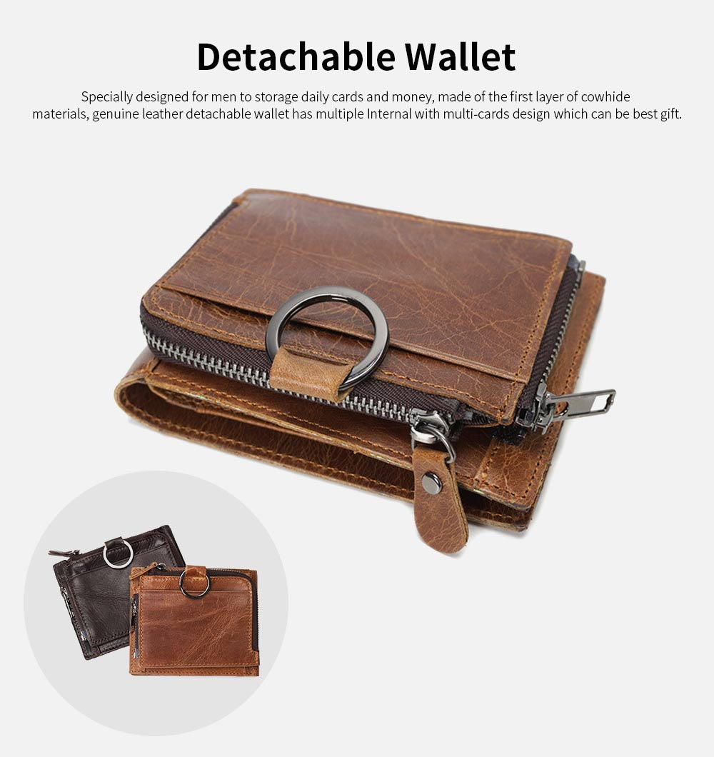 Detachable Wallet with Multi-cards, Wear-resistant First Layer Leather Purse for Men 6