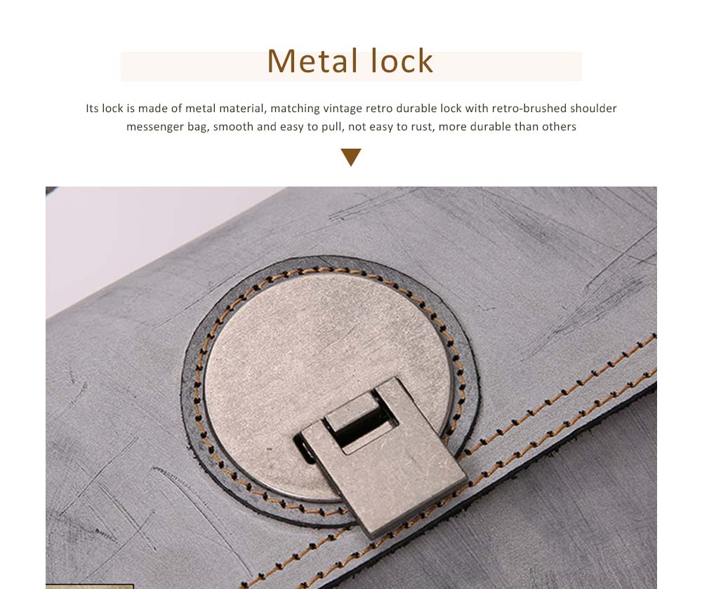 Slim Square Handbag, Retro Fog Wax Leather Handbag 4