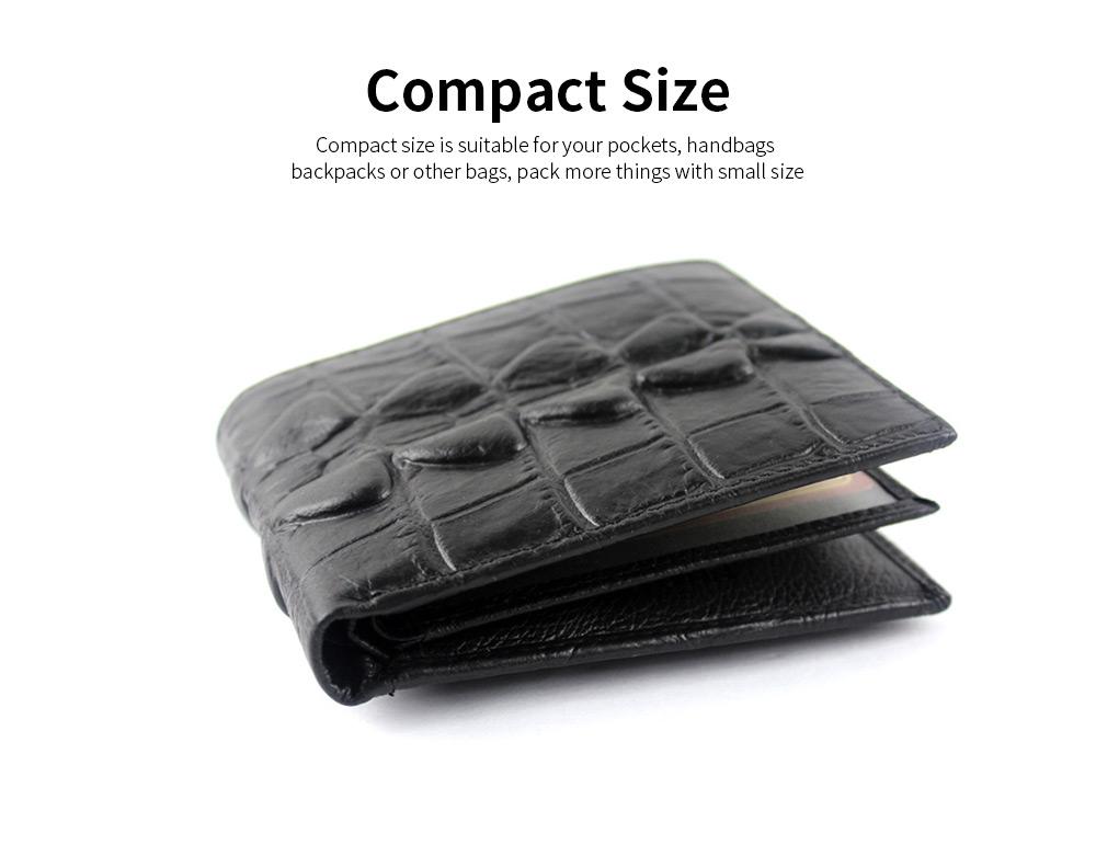 Slim Genuine Leather Mens Wallet - Crocodile Pattern 5