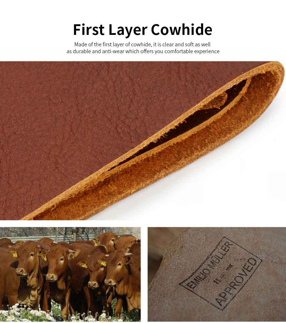 First Layer Genuine Leather Short Wallet for Men with Multi-cards and Two-fold 1