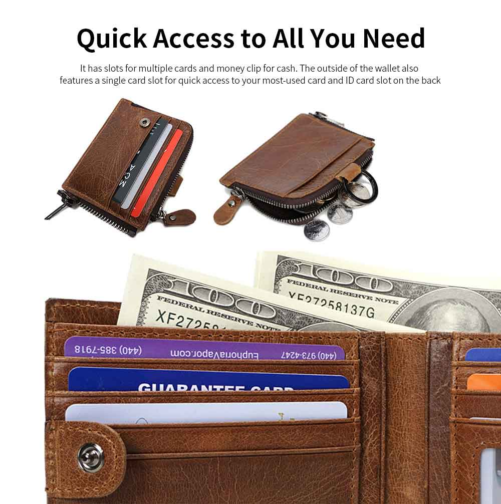 Detachable Wallet with Multi-cards, Wear-resistant First Layer Leather Purse for Men 9