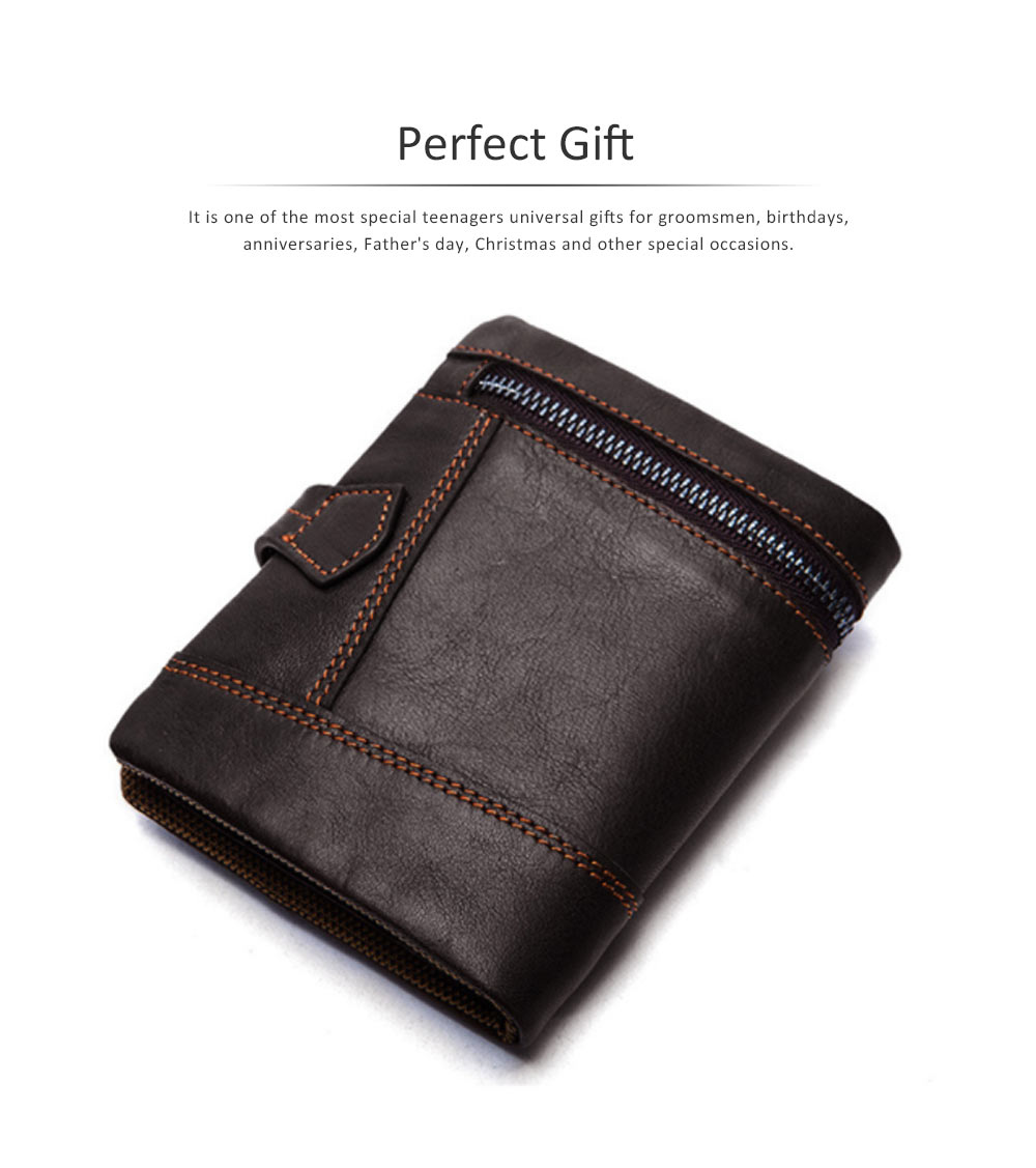 Retro Motorcycle Leather Zipper Purse, Men's Wear-resistant Leather Short Wallet with Stitching and Tri-fold Design 5
