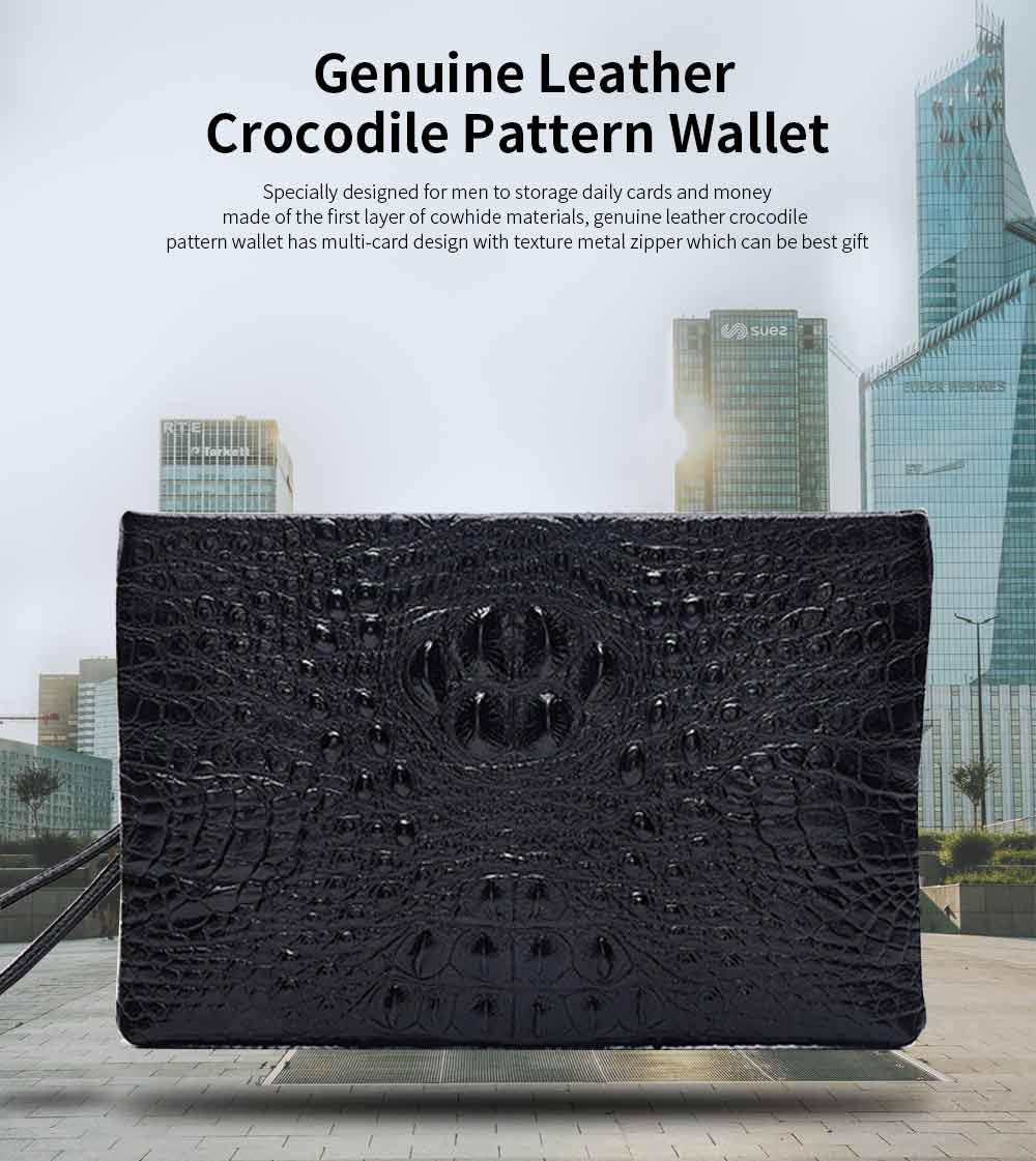 Crocodile Pattern Leather Wallet, Men's Clutch Business Bag 0