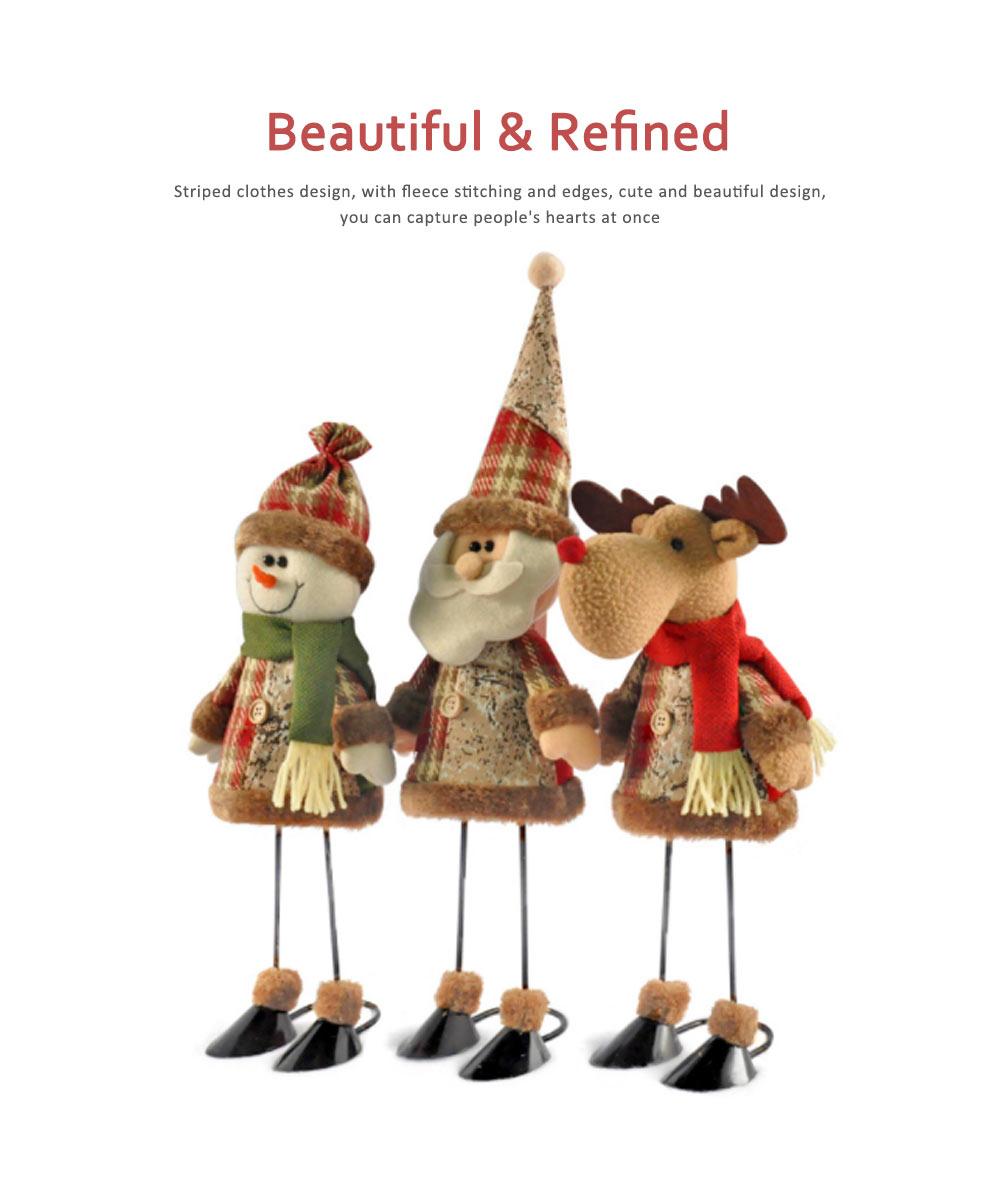 Fabric Santa Claus Figurine, Iron Feet Standing Santa Claus Ornaments 5