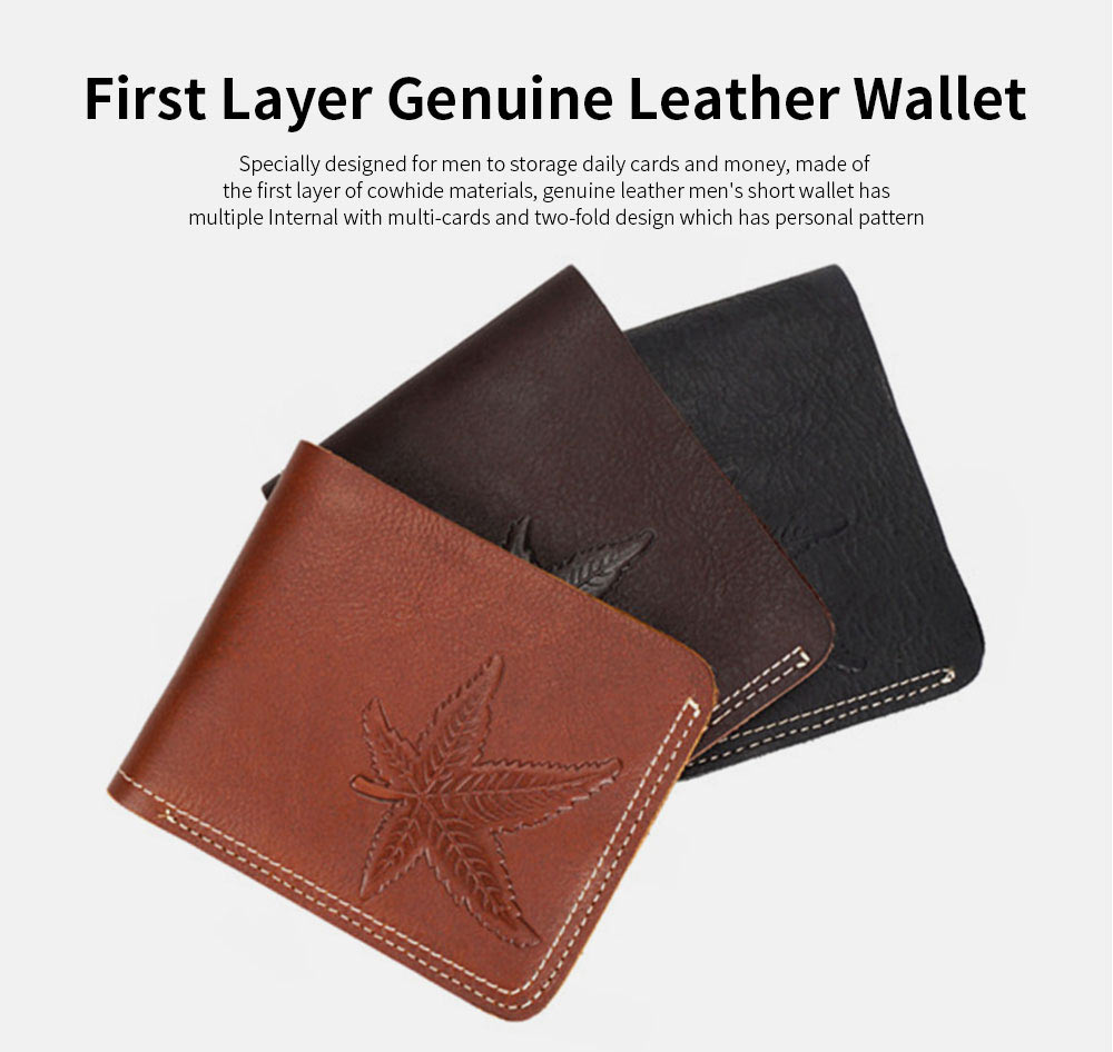 First Layer Genuine Leather Short Wallet for Men with Multi-cards and Two-fold 0