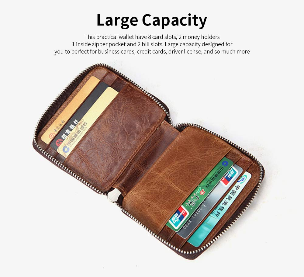 Zipper Leather Wallet with Metal Buckle and Multi-card, Retro Money and Card Holder Purse for Men 9