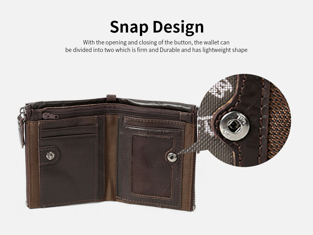 Double Zipper Wallet with Multi-card, First Layer Leather Money and Card Holder Purse for Men 2