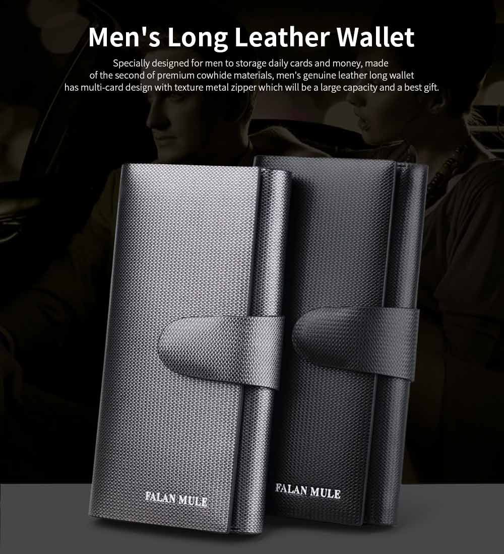 Anti-theft Long Leather Wallet, Business Casual Wallet with Large Capacity for Men 0