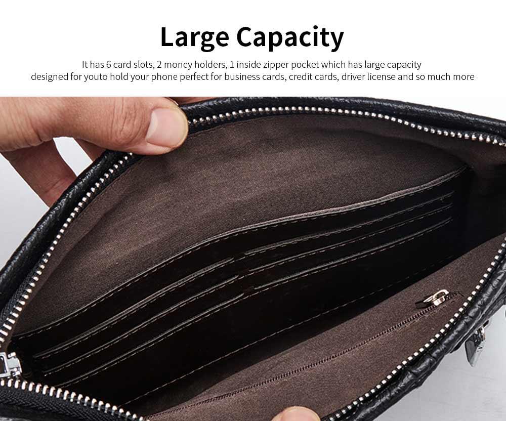 Crocodile Pattern Leather Wallet, Men's Clutch Business Bag 2