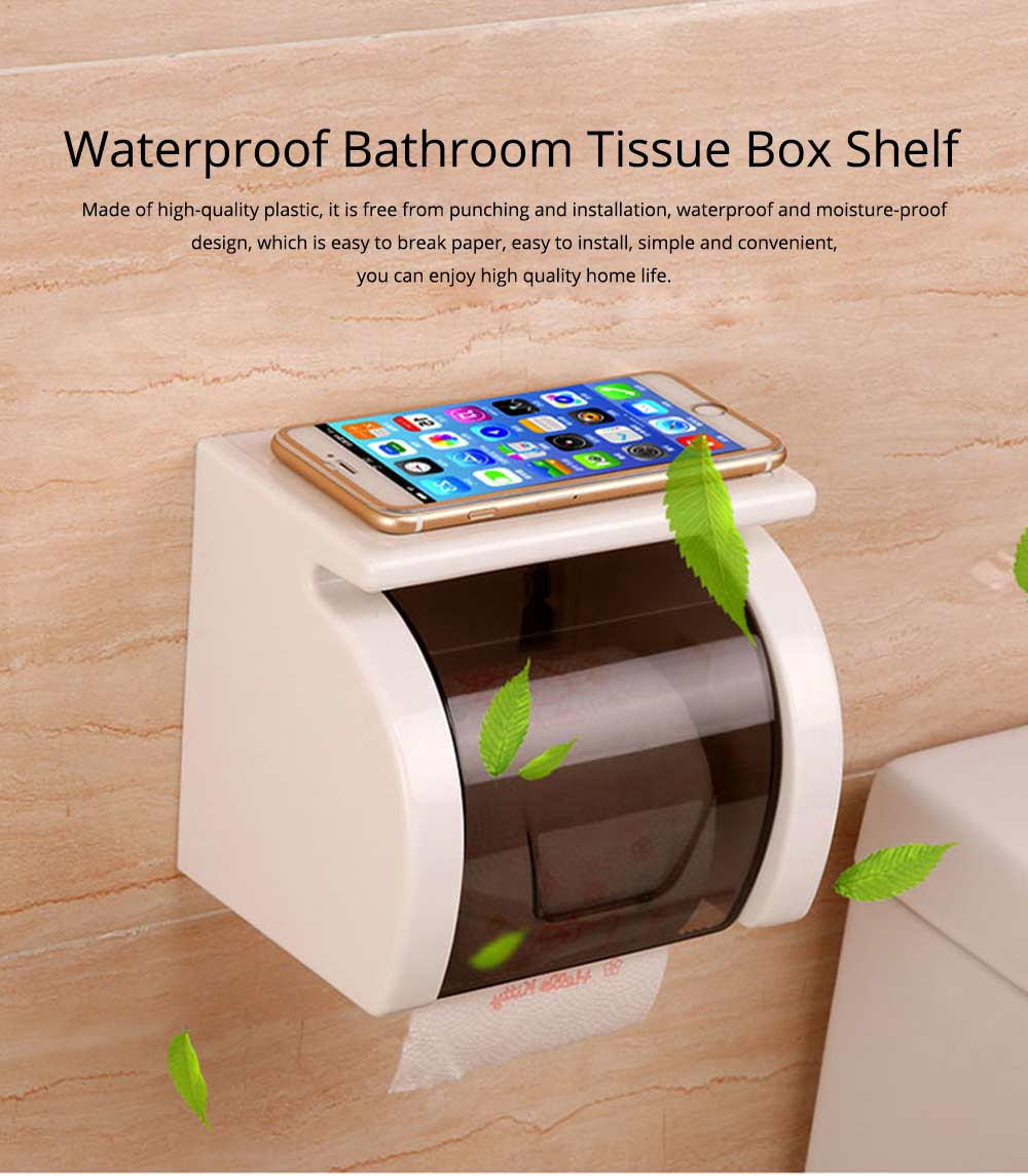 Bathroom Waterproof Toilet Tray Holder, Tissue Box Shelf, Punch-free Roll Holder 0