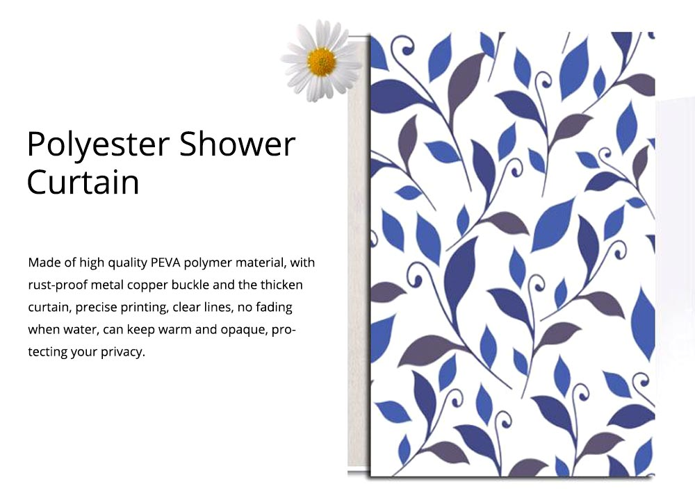 Leaf Print Shower Curtain Polyester Mildew-Proof  Shower Curtain 1