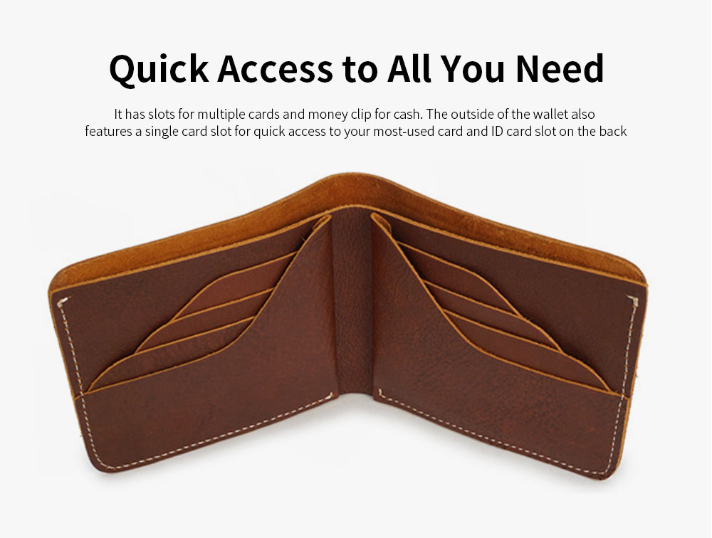First Layer Genuine Leather Short Wallet for Men with Multi-cards and Two-fold 3