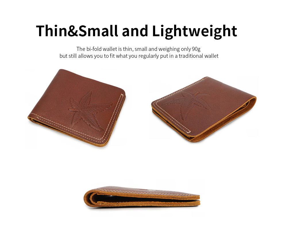 First Layer Genuine Leather Short Wallet for Men with Multi-cards and Two-fold 4