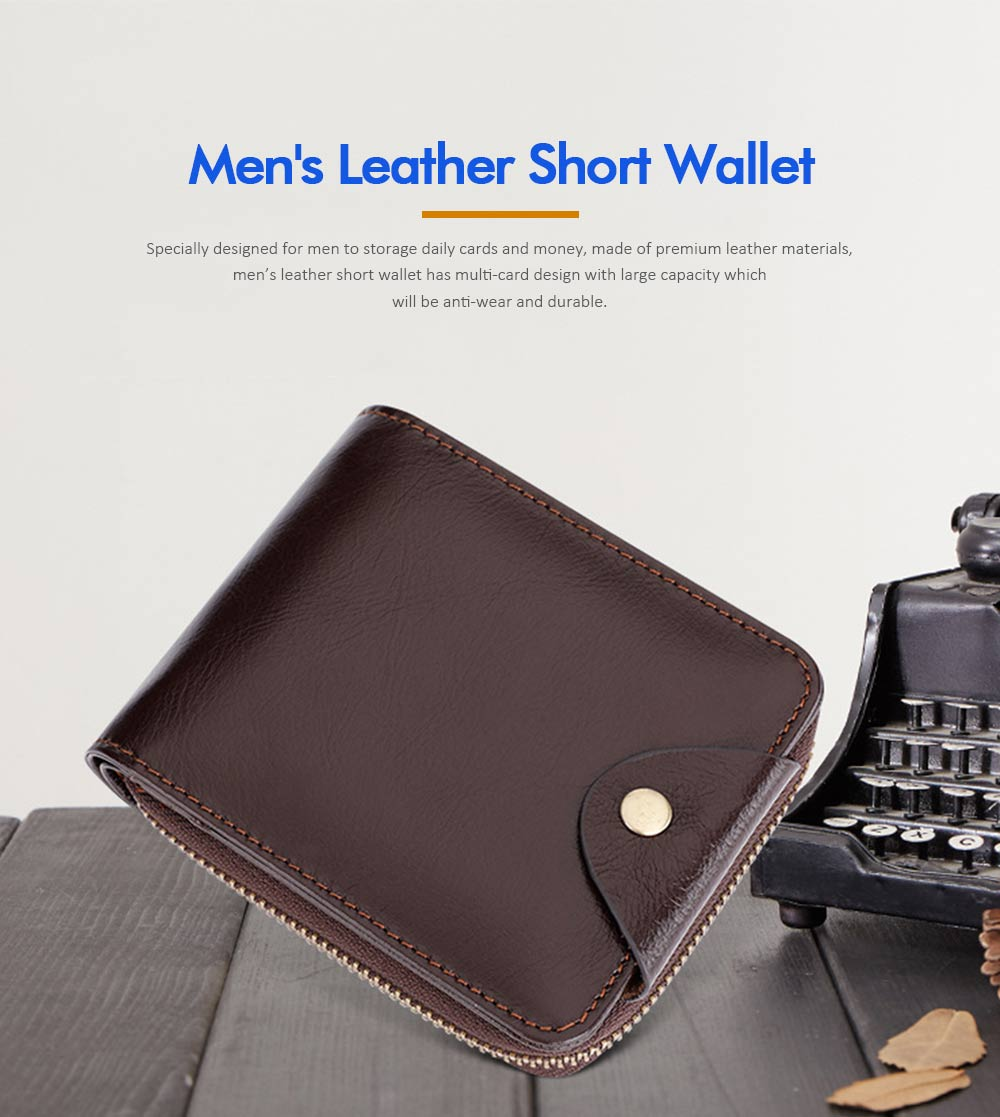Men's Small Leather Wallet With Coin Pocket, Wear-Resistant Fashion Business Purse 0