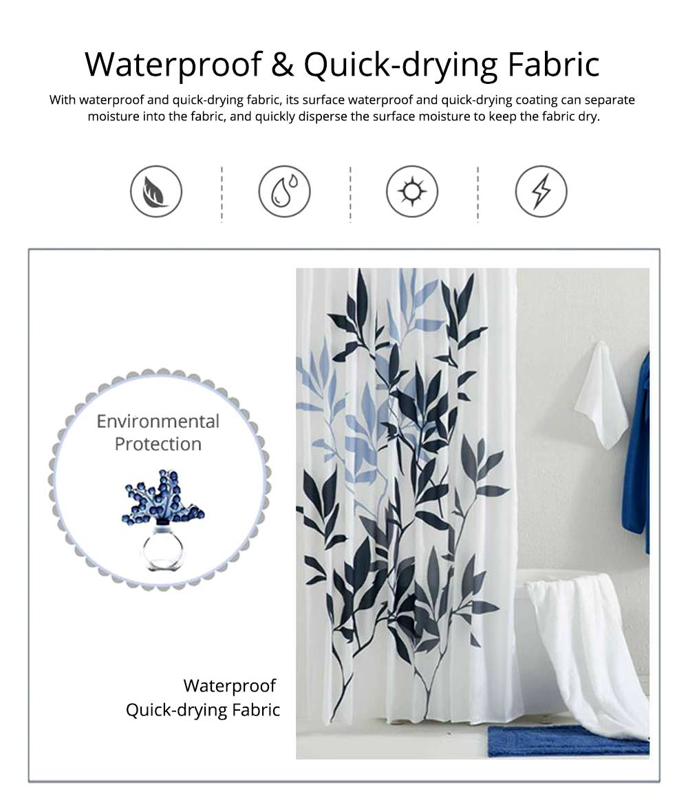 Leaf Print Shower Curtain Polyester Mildew-Proof  Shower Curtain 6
