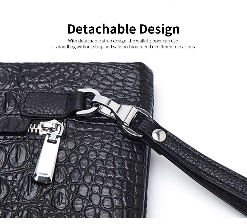 Crocodile Pattern Leather Wallet, Men's Clutch Business Bag 12