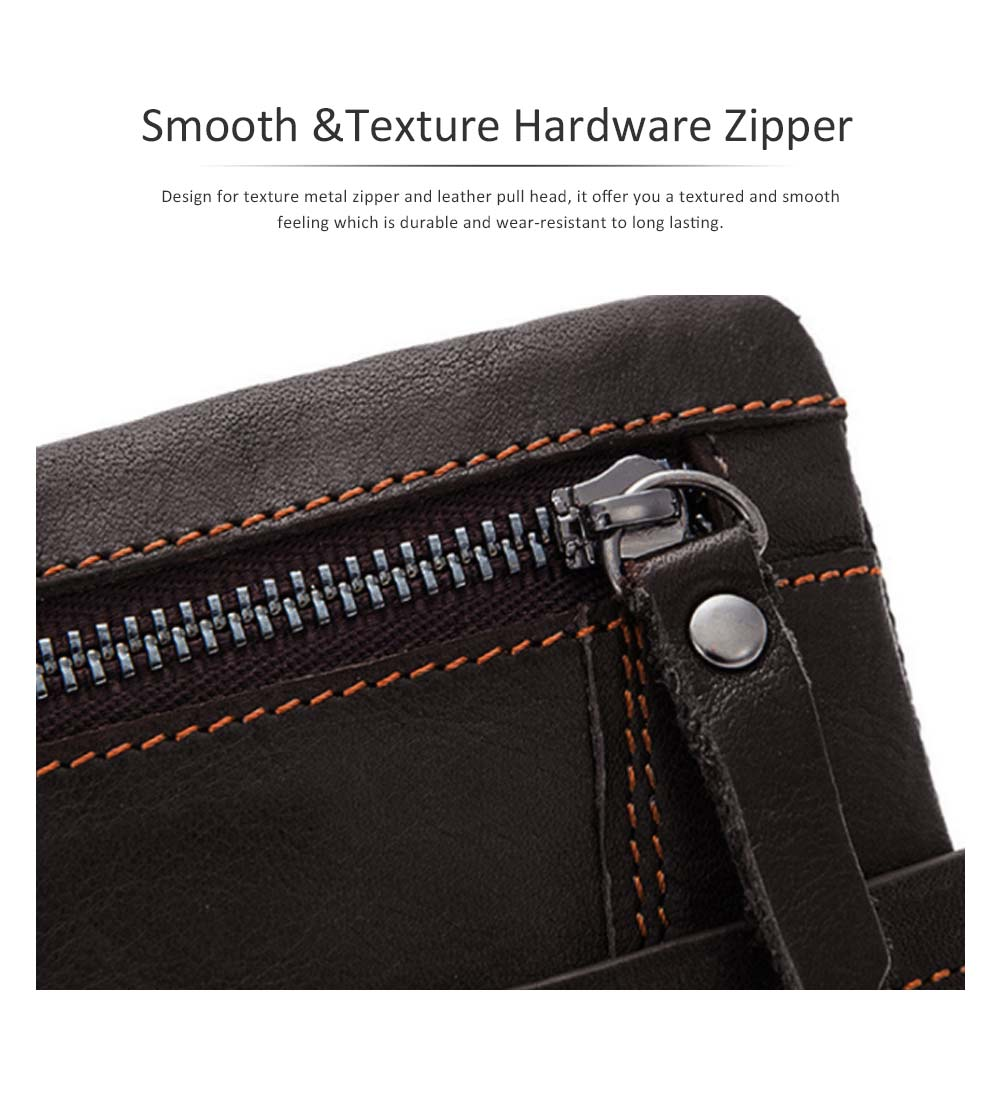 Retro Motorcycle Leather Zipper Purse, Men's Wear-resistant Leather Short Wallet with Stitching and Tri-fold Design 3