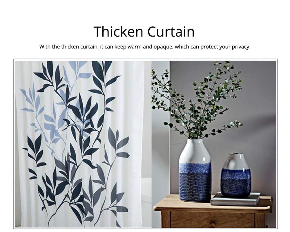 Leaf Print Shower Curtain Polyester Mildew-Proof  Shower Curtain 4