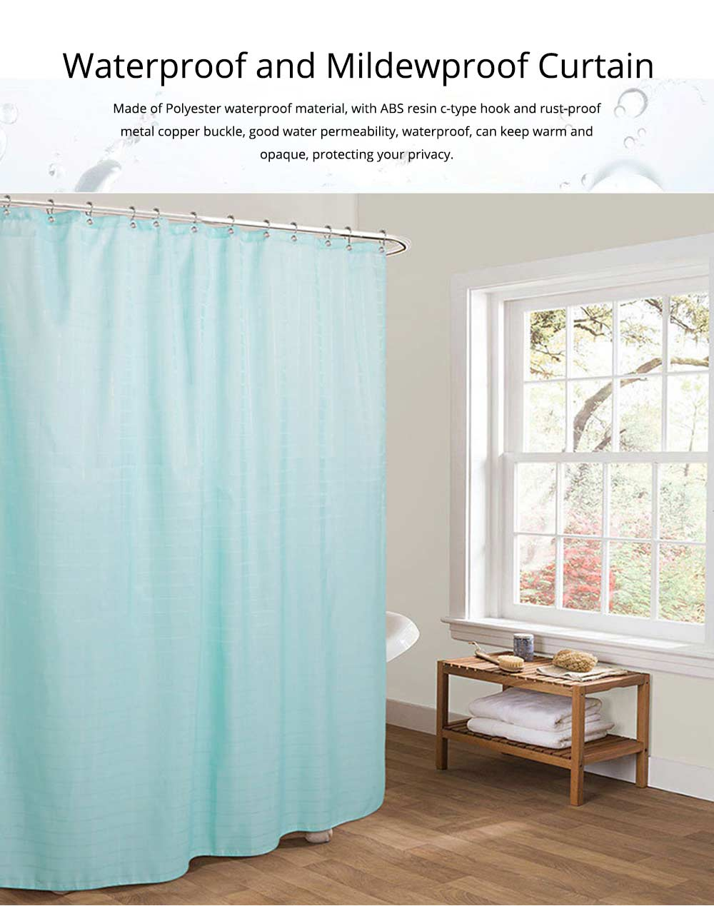 Bathroom Partition Curtains Thicken Waterproof And Mildew Proof Polyester Curtain 0