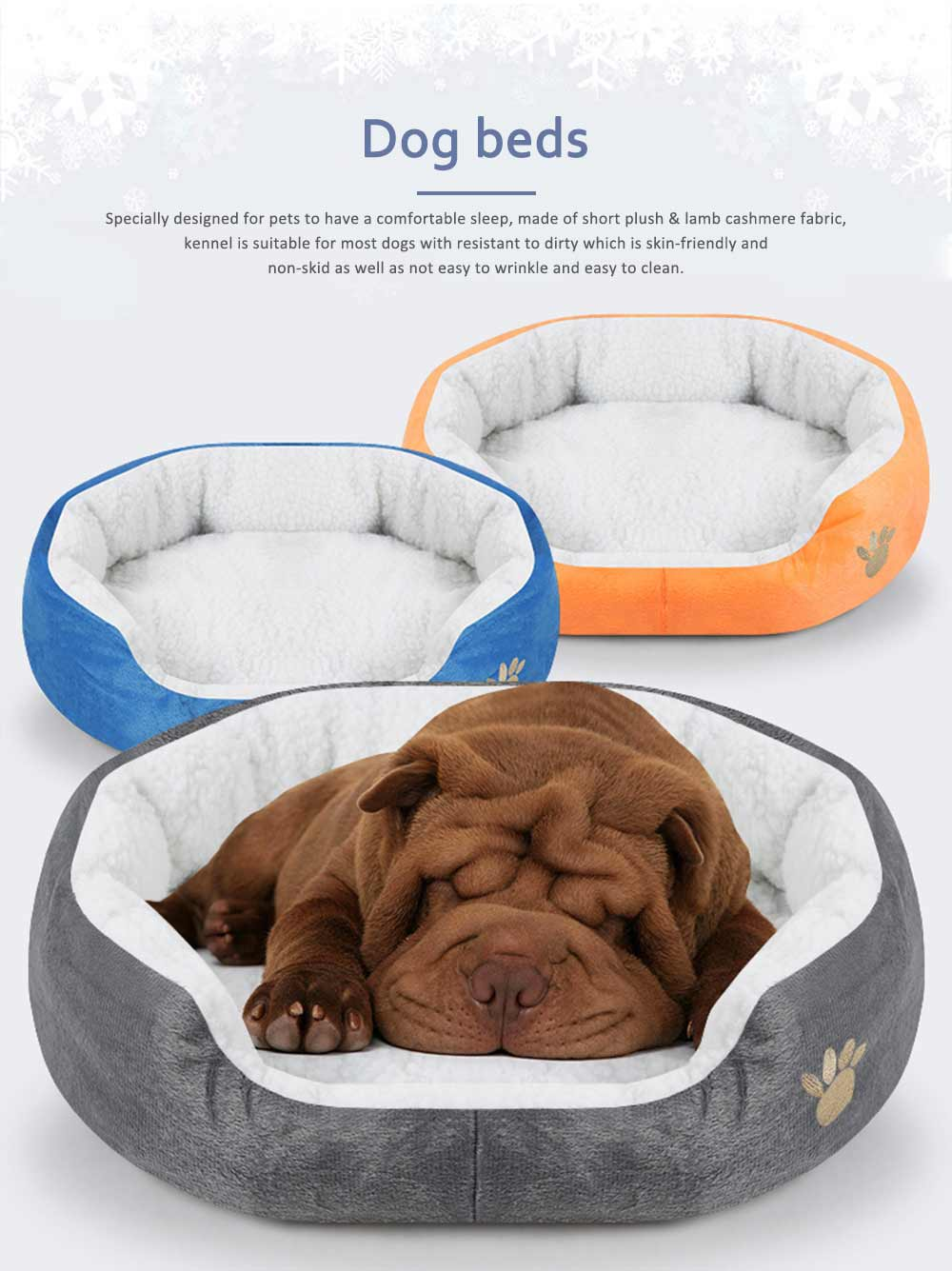 Kennel Ultra-soft Dog Beds, Plush & Lamb Cashmere Washable Cute Peg Beds 0