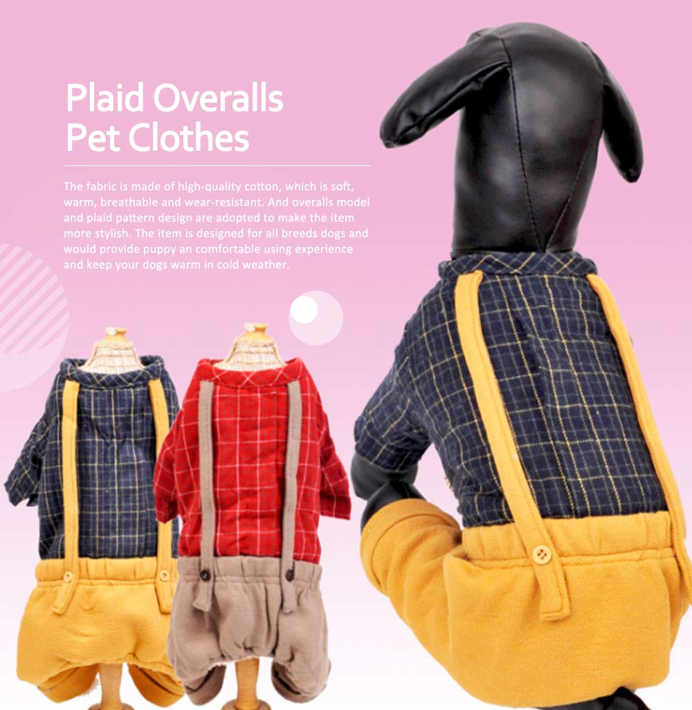 Plaid Overalls Four-leg Pet Clothes, Warm Soft Cotton Puppy Pet Coat Apparel for All Breeds 0