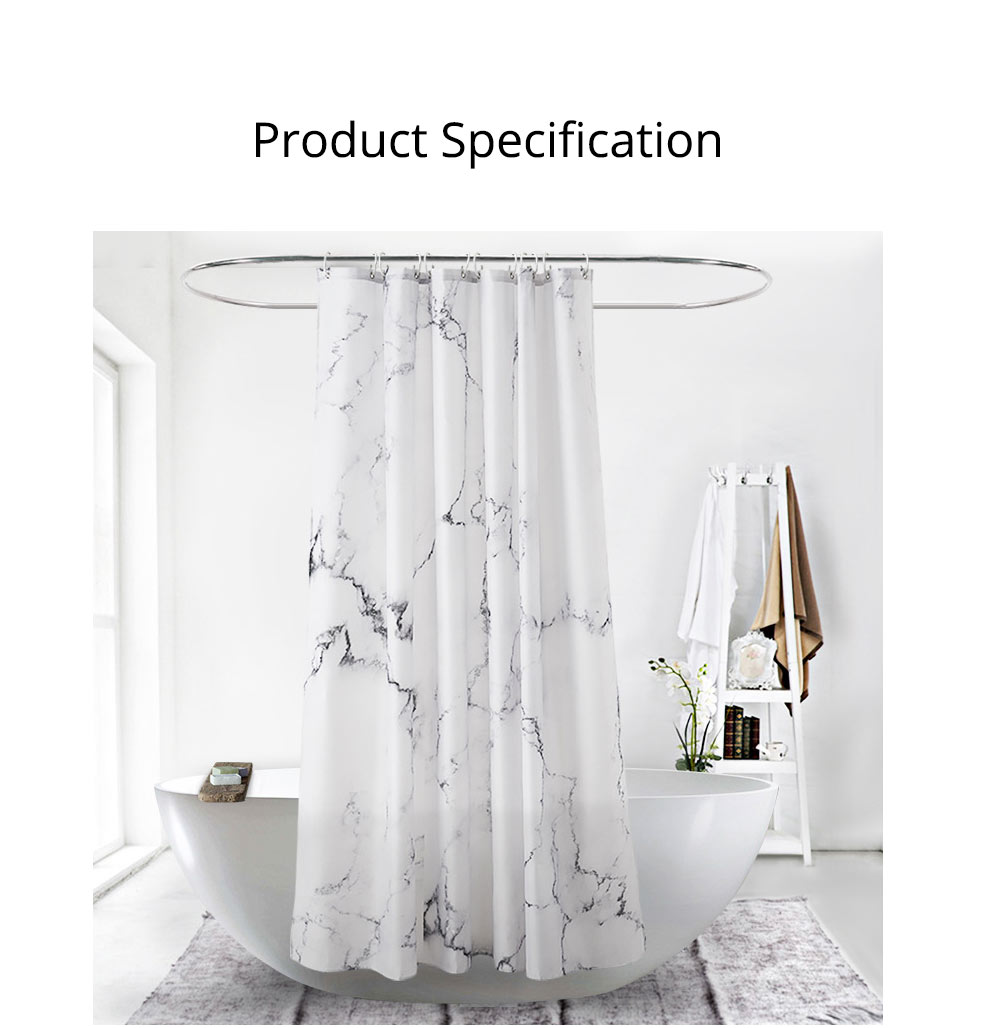 3D Digital Marble Printed Shower Curtain, PA Coated Partition Curtain 8