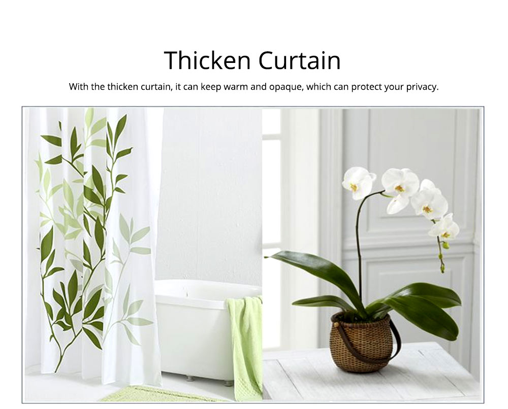 Plant Printing Shower Curtain, Polyester Waterproof and Mildew-proof Shower Curtain 4
