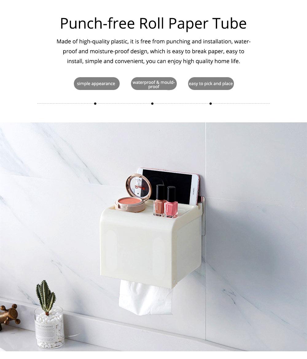 Toilet Paper Rack Holder, Punch-free Bathroom Tissue Box 0
